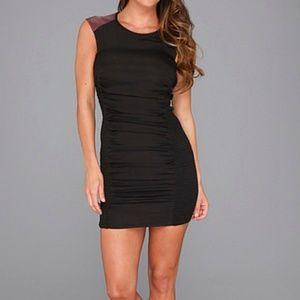 BCBGeneration Side Smocked Dress Black/Maroon